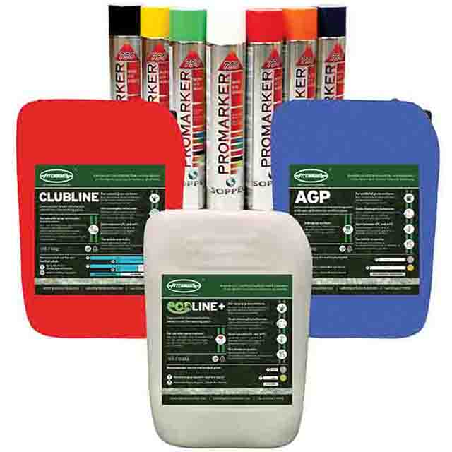 Line marking paints for natural and artificial sports pitches. Ready-to-use and concentrate high impact line marking paints.